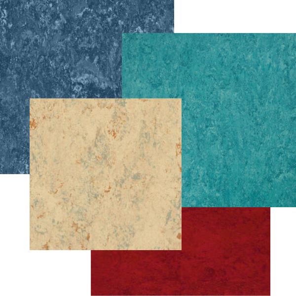 foto de 4 colores de pavimentos de linóleo